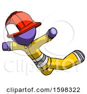 Purple Firefighter Fireman Man Skydiving Or Falling To Death