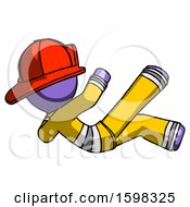 Purple Firefighter Fireman Man Falling Backwards