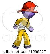 Purple Firefighter Fireman Man Suspense Action Pose Facing Right