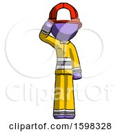 Purple Firefighter Fireman Man Soldier Salute Pose