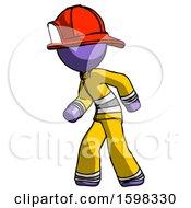 Purple Firefighter Fireman Man Suspense Action Pose Facing Left