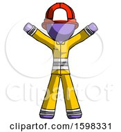 Purple Firefighter Fireman Man Surprise Pose Arms And Legs Out