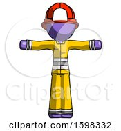 Purple Firefighter Fireman Man T Pose Arms Up Standing
