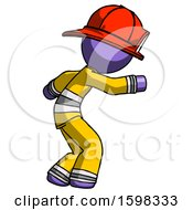 Purple Firefighter Fireman Man Sneaking While Reaching For Something