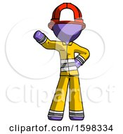 Purple Firefighter Fireman Man Waving Right Arm With Hand On Hip