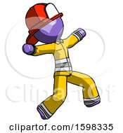 Purple Firefighter Fireman Man Running Away In Hysterical Panic Direction Right