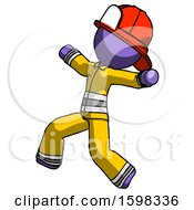 Purple Firefighter Fireman Man Running Away In Hysterical Panic Direction Left