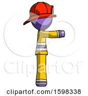 Purple Firefighter Fireman Man Pointing Right