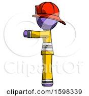 Purple Firefighter Fireman Man Pointing Left