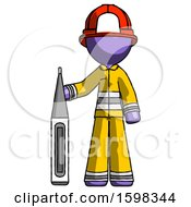 Purple Firefighter Fireman Man Standing With Large Thermometer
