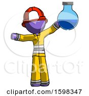 Purple Firefighter Fireman Man Holding Large Round Flask Or Beaker