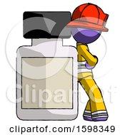 Purple Firefighter Fireman Man Leaning Against Large Medicine Bottle