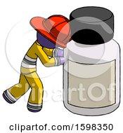 Purple Firefighter Fireman Man Pushing Large Medicine Bottle