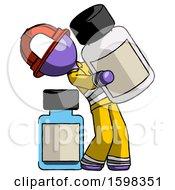 Purple Firefighter Fireman Man Holding Large White Medicine Bottle With Bottle In Background
