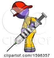 Purple Firefighter Fireman Man Using Syringe Giving Injection