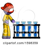 Purple Firefighter Fireman Man Using Test Tubes Or Vials On Rack