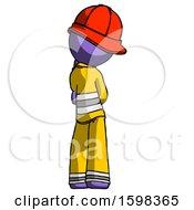 Purple Firefighter Fireman Man Thinking Wondering Or Pondering Rear View