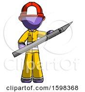 Purple Firefighter Fireman Man Holding Large Scalpel