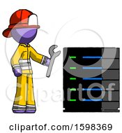 Purple Firefighter Fireman Man Server Administrator Doing Repairs