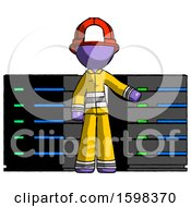 Purple Firefighter Fireman Man With Server Racks In Front Of Two Networked Systems