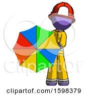 Purple Firefighter Fireman Man Holding Rainbow Umbrella Out To Viewer