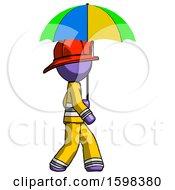 Purple Firefighter Fireman Man Walking With Colored Umbrella
