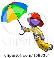 Purple Firefighter Fireman Man Flying With Rainbow Colored Umbrella