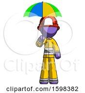 Purple Firefighter Fireman Man Holding Umbrella Rainbow Colored