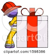 Purple Firefighter Fireman Man Gift Concept Leaning Against Large Present
