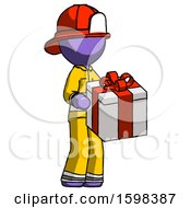 Purple Firefighter Fireman Man Giving A Present