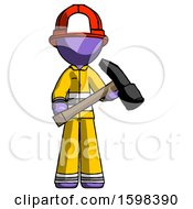 Purple Firefighter Fireman Man Holding Hammer Ready To Work