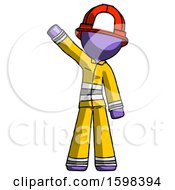 Purple Firefighter Fireman Man Waving Emphatically With Right Arm