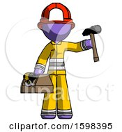 Purple Firefighter Fireman Man Holding Tools And Toolchest Ready To Work