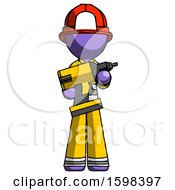 Purple Firefighter Fireman Man Holding Large Drill