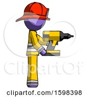 Purple Firefighter Fireman Man Using Drill Drilling Something On Right Side