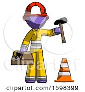 Purple Firefighter Fireman Man Under Construction Concept Traffic Cone And Tools