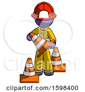 Purple Firefighter Fireman Man Holding A Traffic Cone