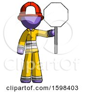 Purple Firefighter Fireman Man Holding Stop Sign
