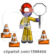 Purple Firefighter Fireman Man Holding Stop Sign By Traffic Cones Under Construction Concept