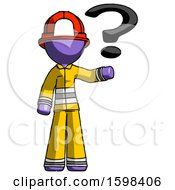 Purple Firefighter Fireman Man Holding Question Mark To Right