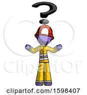 Purple Firefighter Fireman Man With Question Mark Above Head Confused