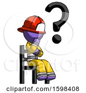 Purple Firefighter Fireman Man Question Mark Concept Sitting On Chair Thinking