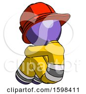 Purple Firefighter Fireman Man Sitting With Head Down Back View Facing Left