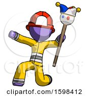 Purple Firefighter Fireman Man Holding Jester Staff Posing Charismatically
