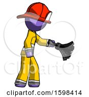 Purple Firefighter Fireman Man Dusting With Feather Duster Downwards