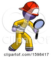 Purple Firefighter Fireman Man Inspecting With Large Magnifying Glass Right