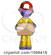 Purple Firefighter Fireman Man Holding Box Sent Or Arriving In Mail