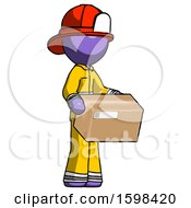 Purple Firefighter Fireman Man Holding Package To Send Or Recieve In Mail