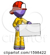 Purple Firefighter Fireman Man Presenting Large Envelope