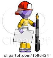 Purple Firefighter Fireman Man Holding Large Envelope And Calligraphy Pen